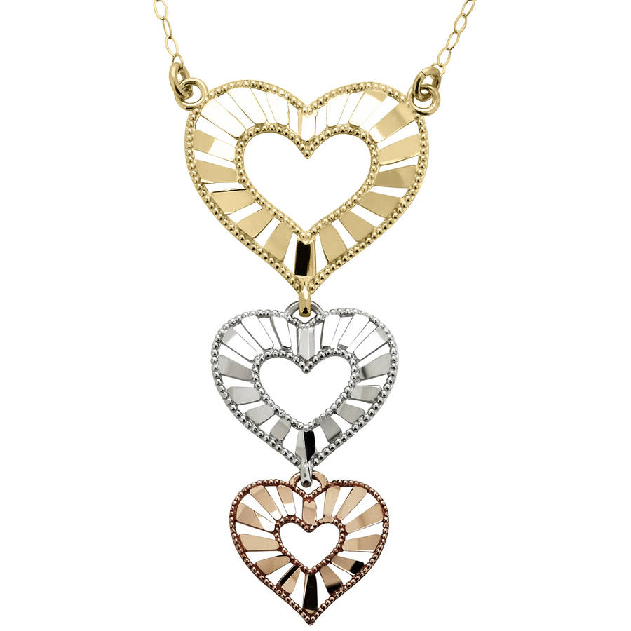 Simply gold 10kt Yellow, White and Pink Gold Triple-Dangle Heart Necklace, 18""