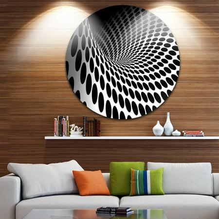 - DESIGN ART Designart 'Waves and Circles Black n White' Abstract Art Circle Metal Wall Art