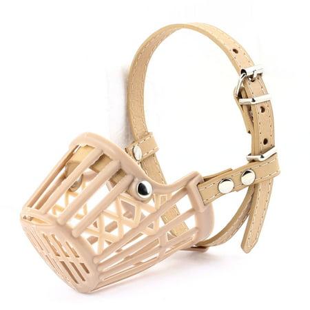 Pet Doggy Puppy Adjustable One Prong Fastener Mesh Muzzle Basket Beige
