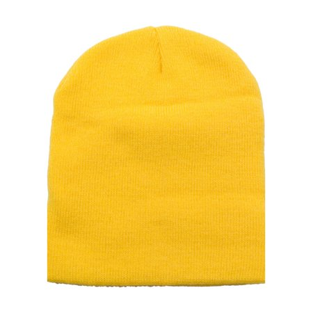 Simplicity Women / Men Short Knit Yellow Beanie Hat Minions Costume Skull Cap - Pink Minion