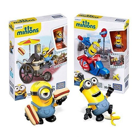 Minions Scene Playset Mega Bloks Flying Hot Dogs & Scooter Escape Despicable Me Building Block Toy Figure DM Movie Merchandise 2-Pack Gift Set Collectible - Minions Merchandise