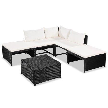 Garden Sofa Set 15 Pieces Poly Rattan Black and Cream White ()