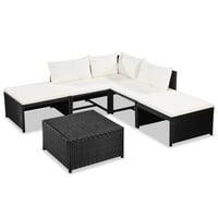 Garden Sofa Set 15 Pieces Poly Rattan Black And Cream White