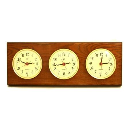 Bey-Berk International Brass Multizone Clock on Oak with 3 Brass Plates Regency Clock Plate