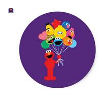 "Sesame Street Elmo Balloons Birthday Edible Image Photo 8"" Round Cake Topper Sheet Personalized Custom Customized Birthday Party"