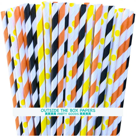 Orange, Black and Yellow Striped and Dot Paper Straws- 100 Pack