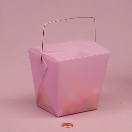 Lavender Light Purple Frosted 2-3/4 x 2 x 2-1/2 Plastic Wire Handle Chinese take Out Favor Boxes, 12 pack