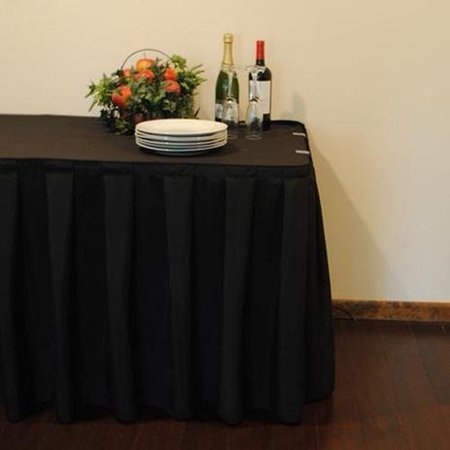 13 ft. SimplyPoly Box Pleat Table Skirting (Black) - Black Table Skirt