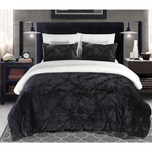 Chic Home Chiara Pinch Pleated Ruffled and Pintuck Sherpa Lined Black 7-Piece Bed In a Bag Set King-Black