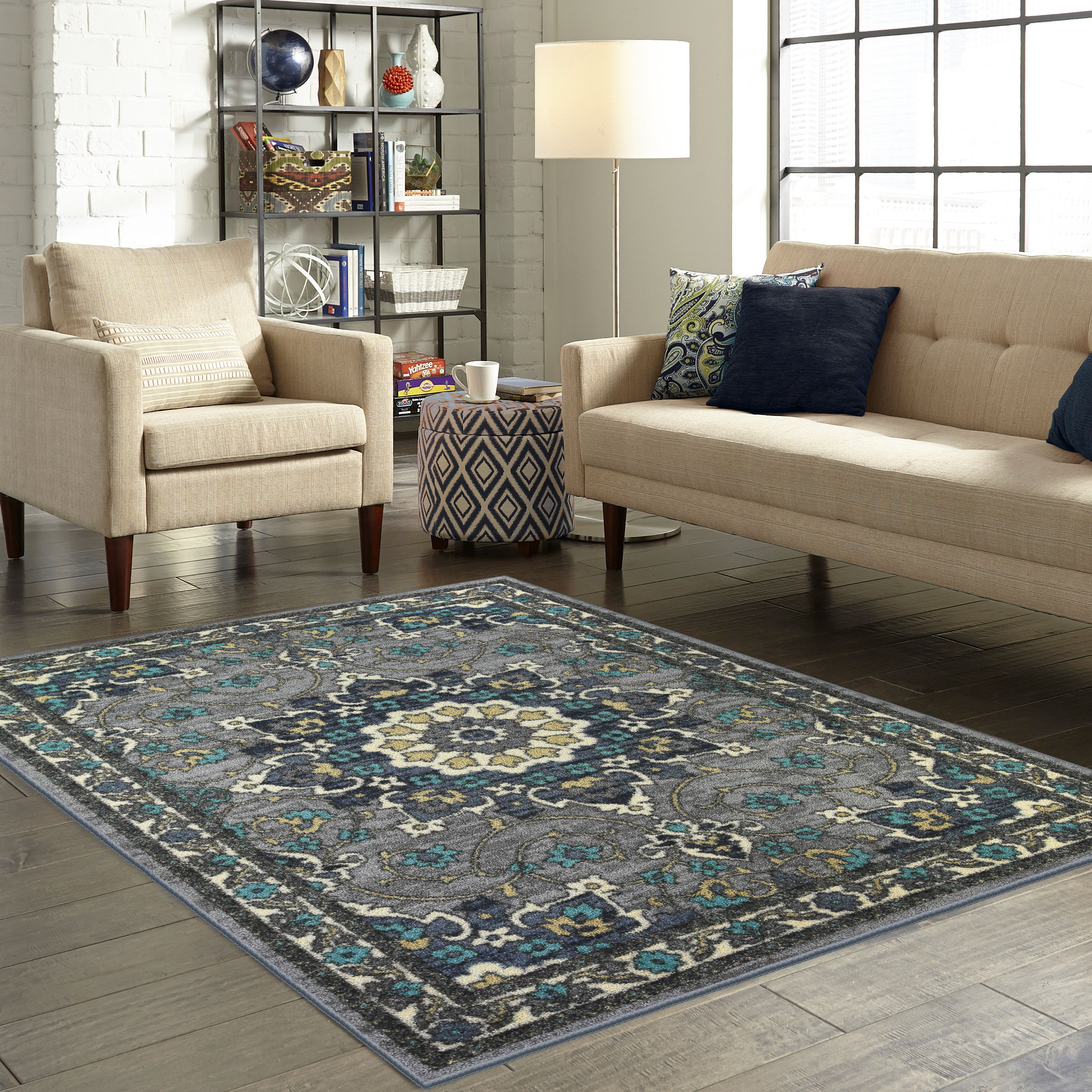 Mainstays Dickens Blue Gray Distressed Floral Medallion Area Rug or Runner by Maples Industries, Inc.