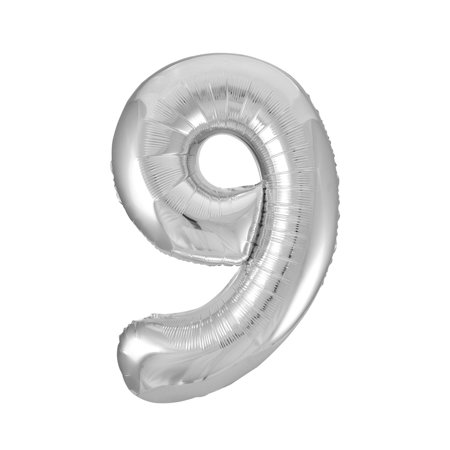 Jumbo Silver Foil Balloon-Number 9