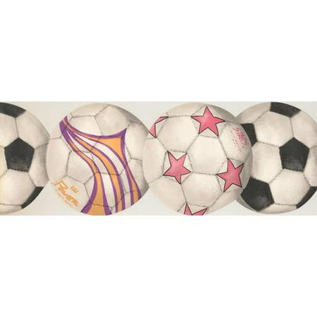 York Wallcoverings Soccer Football Balls Sports Retro Design 15' L x 9'' W Wallpaper