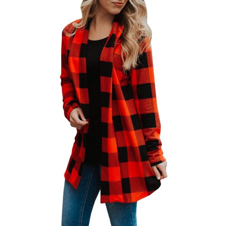 Plaid Sweater Vest (Long Sleeve Plaid Pattern Casual Wear Open Front)