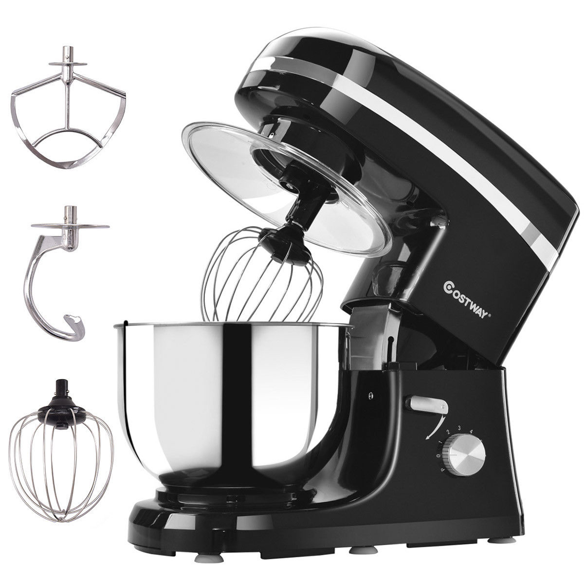 Costway Electric Food Stand Mixer 6 Speed 5.3Qt 800W Tilt-Head Stainless Steel Bowl