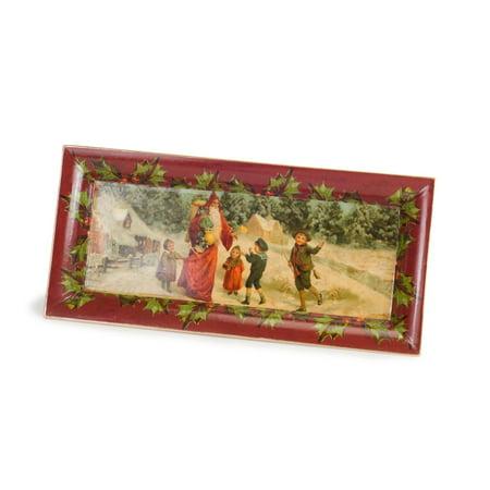 "Green Medium Oval Platter (Pack of 4 Saint Nick Giving Presents to the Children Serving Platter 14"")"