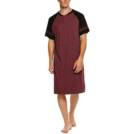 LELINTA Men's Nightshirts Short Sleeve Nightwear Mens Big & Tall Sleepwear Wine Red (Mens Nightwear)