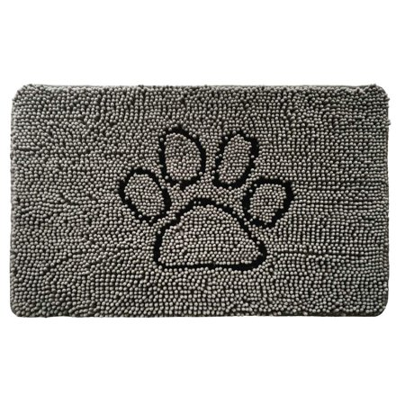 Popeven Original Shaggy Chenille Pet Rug Mat (30 x 20), Extra Soft on Paws, Helps Absorb Mud Dirt, Machine Wash/Dry, Carpet Mats Perfect Crates, Door Mat, Dog Beds, Under Bowls (Paw Gray) - Shaggy Dog Wash