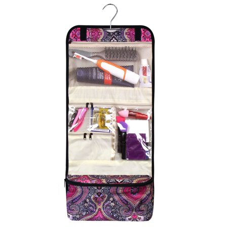 """Zodaca Toiletry Foldable Cosmetic Makeup Hanging Hook Organizer Portable Tote Carry Bag for Camping Hiking Backpacking Travel Bathroom (Size: 11.5""""L x 3""""D x 25.5""""H) - Purple Paisley - image 4 de 4"""