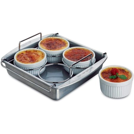 Professional 6-Piece Crème Brulee Set (77106), SET INCLUDES EVERYTHING YOU NEED: This set includes four 6-ounce porcelain ramekins, 8 square pan, and interior.., By Chicago (Metallic Bakeware)