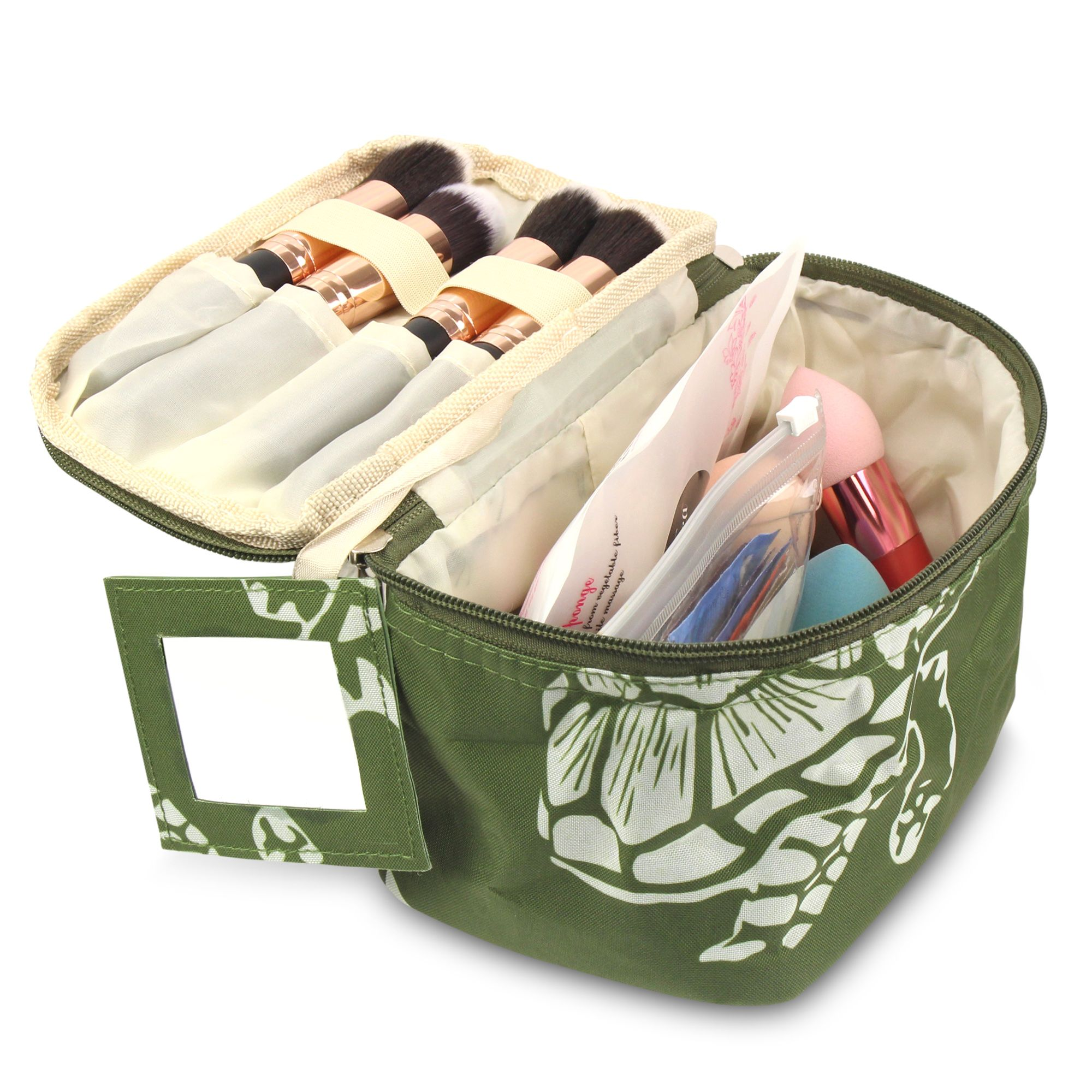 Zodaca Small Travel Cosmetic Makeup Toiletry Organiser Carry Bag Storage Case for Camping Hiking Backpacking w/Mirror