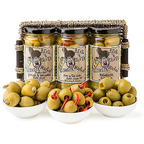 Deli Direct Redneck Martini Spicy Olives Gift Basket, 12 oz, 3 count