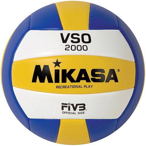 Mikasa VSA2000 Varsity Outdoor Volleyball, Blue/Yellow/White