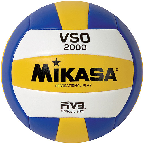 Mikasa VSA2000 Varsity Outdoor Volleyball, Blue/Yellow/White