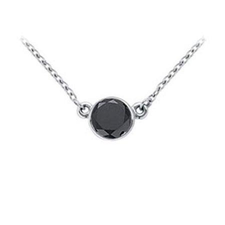 FineJewelryVault UBPD14WHBZ125BD-101 14K White Gold : Bezel Set Round Black Diamond Solitaire Pendant - 1.25 CT. TW.