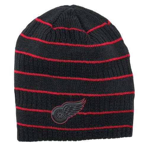 Detroit Red Wings Reebok Cross Check Cuffless Knit Beanie - Black - OSFA