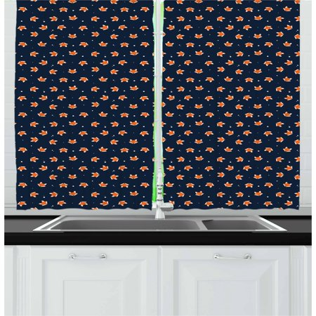 Fox Curtains 2 Panels Set, Orange Small Forest Animal Portraits Pattern on Abstract Dotted Blue Backdrop, Window Drapes for Living Room Bedroom, 55W X 39L Inches, Navy Blue Orange, by Ambesonne ()