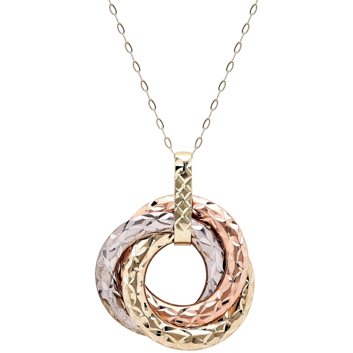 Simply Gold 10kt Yellow, White and Pink Gold Triple Open Circle Pendant by Richline Group Inc