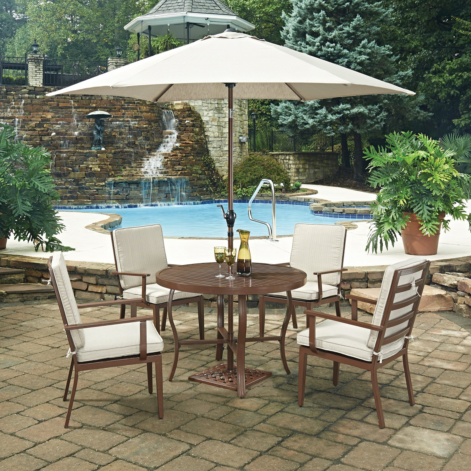 Home Styles Key West 7 Piece 42 in. Round Outdoor Dining Set with Umbrella and Stand