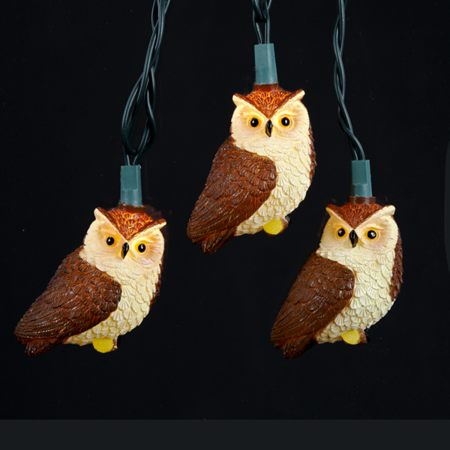 Set of 10 Brown Owl Bird Novelty Christmas Lights - Green Wire - Christmas Owls
