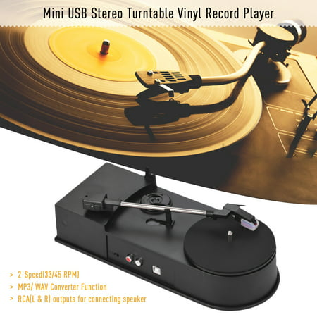 Mini USB Stereo Turntable Vinyl Record Player 2-Speed(33/45 RPM) MP3/ WAV Converter Function with RCA Outputs Rm Wav Converter