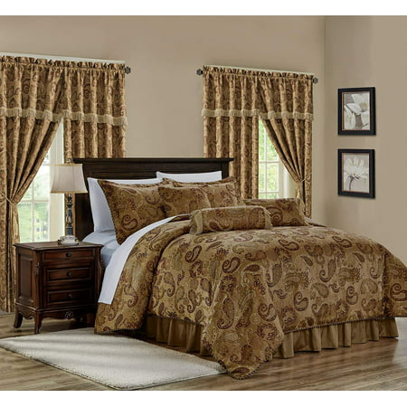 Chezmoi Collection Adelle 7-Piece Paisley Jacquard Embroidered Comforter Bedding Set ()