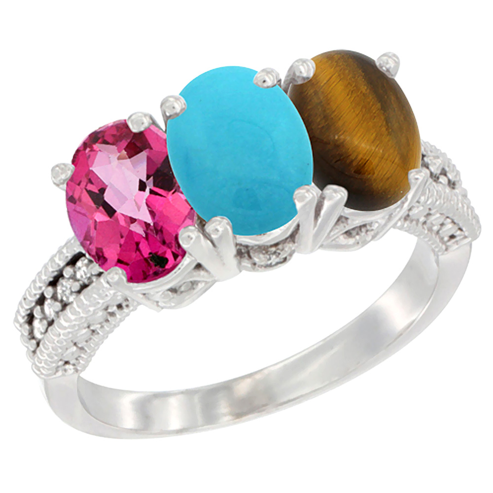 14K White Gold Natural Pink Topaz, Turquoise & Tiger Eye Ring 3-Stone 7x5 mm Oval Diamond Accent, sizes 5 10 by WorldJewels