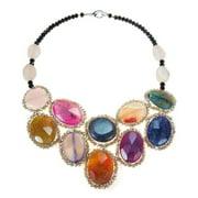 Aeravida Handmade Round Multicolor Agate Mosaic Bib Statement Necklace (Thailand)