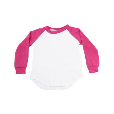 Unisex Little Kids Hot Pink Two Tone Long Sleeve Raglan Baseball T-Shirt