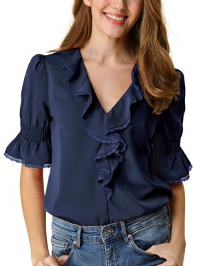 Allegra K Women's Ruffled V Neck Half Bell Sleeve Blouse Casual Chiffon Peasant Top M Navy blue