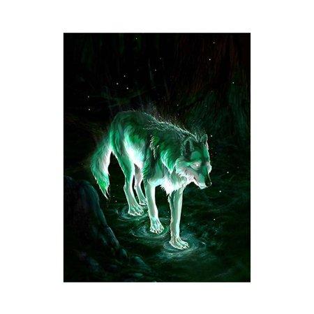 Night Rhinestone (5D Night Wolf Rhinestone Cross Stitch DIY Crystal Animal Art Needlework Home Office Embroidery Diamond Painting )