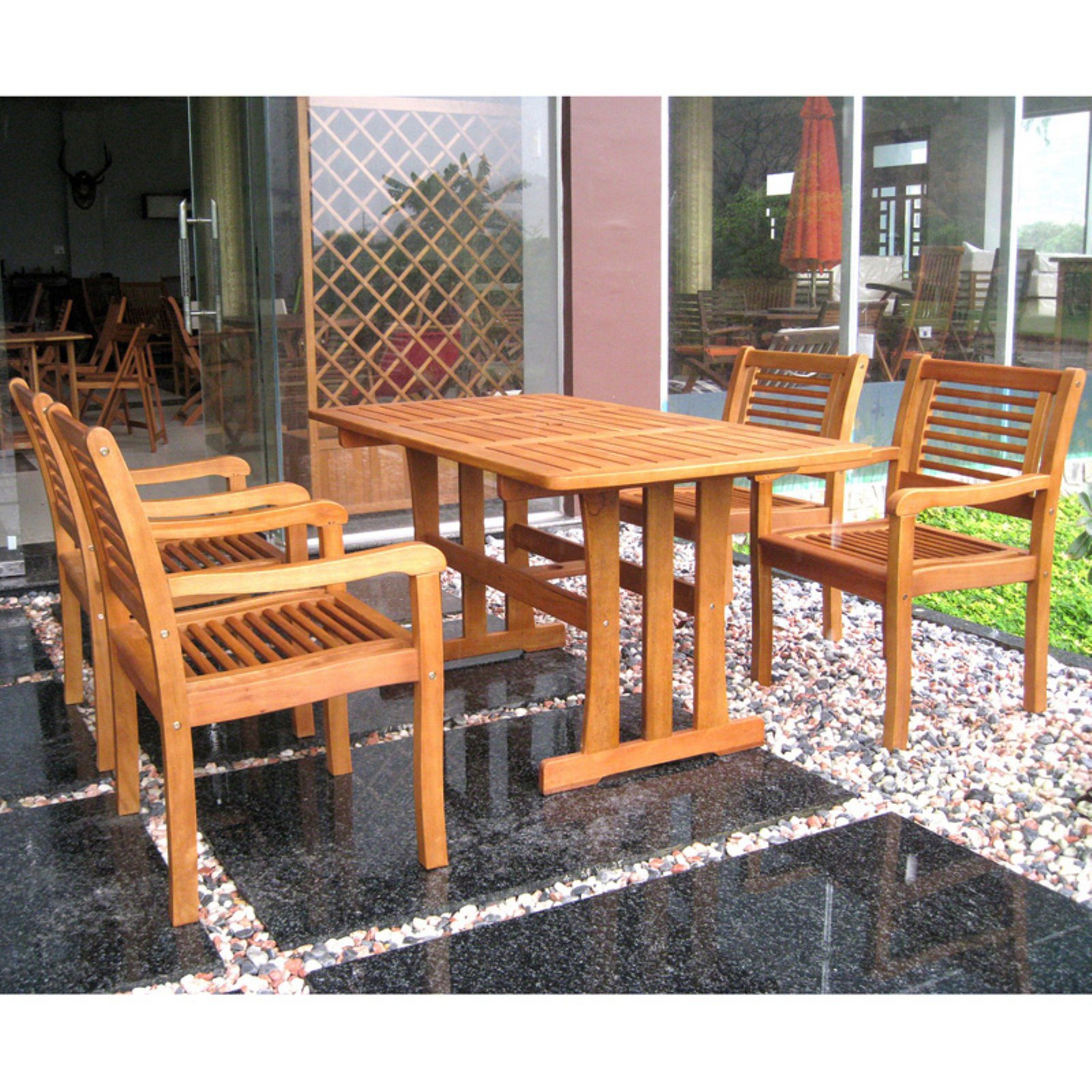 International Caravan Montoro 5 pc. Wooden Patio Dining Set