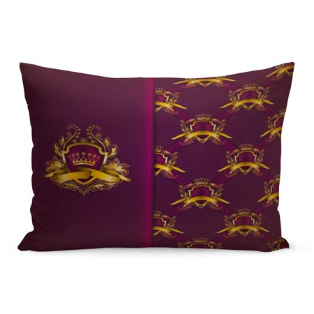ECCOT Elegant Gold Shield Crown Filigree on Ornate Purple Luxury Pillowcase Pillow Cover Cushion Case 20x30 inch