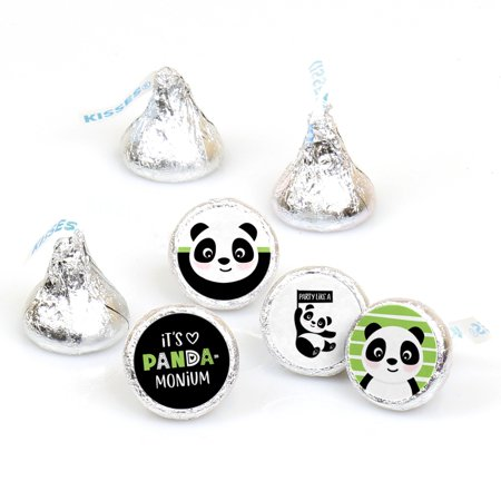 Party Like a Panda Bear - Baby Shower or Birthday Party Round Candy Sticker Favors - Fit Hershey's-108 Ct - Panda Party Decorations