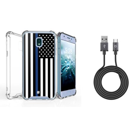 AquaFlex Shock Bumper Design Protection Phone Cover Case (Thin Blue Line Flag) with 2.0 Micro USB Data Sync Charging Cable (3.3 Feet) and Atom Cloth for Samsung Galaxy J7, J7 V 2nd Gen