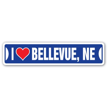 I LOVE BELLEVUE, NEBRASKA Street Sign ne city state us wall road décor gift