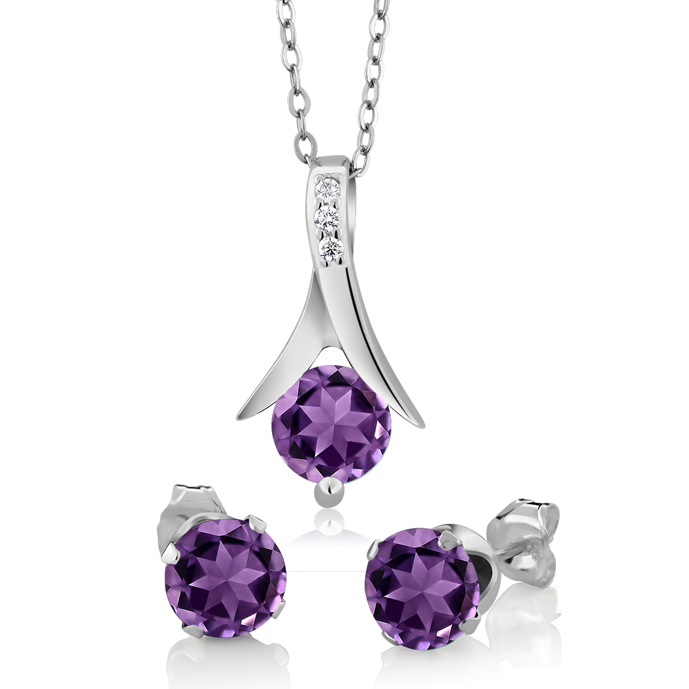 "2.25 Ct Round Purple Amethyst & Diamond Silver Pendant & Earrings Set 18"" Chain"