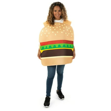 Funny Homemade Couple Costumes (Hauntlook Beefy Burger One-Size Halloween Costume - Funny Food Adult Unisex Mascot)