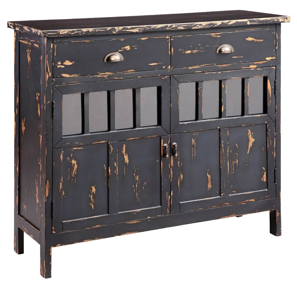 Attirant Distressed Accent Cabinet In Antique Brown