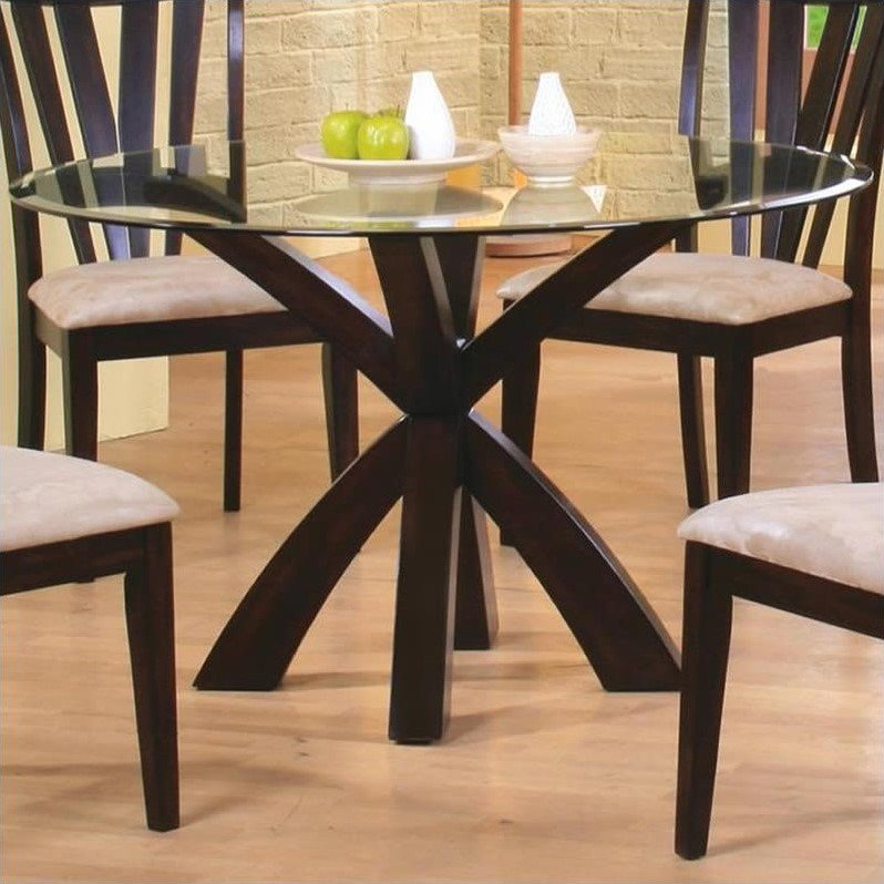 Coaster Shoemaker Crossing Pedestal Dining Table with Glass Top in Cappuccino by Coaster Fine Furniture