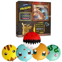 Pokemon TCG: Detective Pikachu Charizard Gx Case File + 6 Booster Pack + A Foil Promo Card + A Foil Oversize Card + 5 Balloons Inspired by Pokeball, Pikachu, Charmander, Bulbasaur, and Squirtle